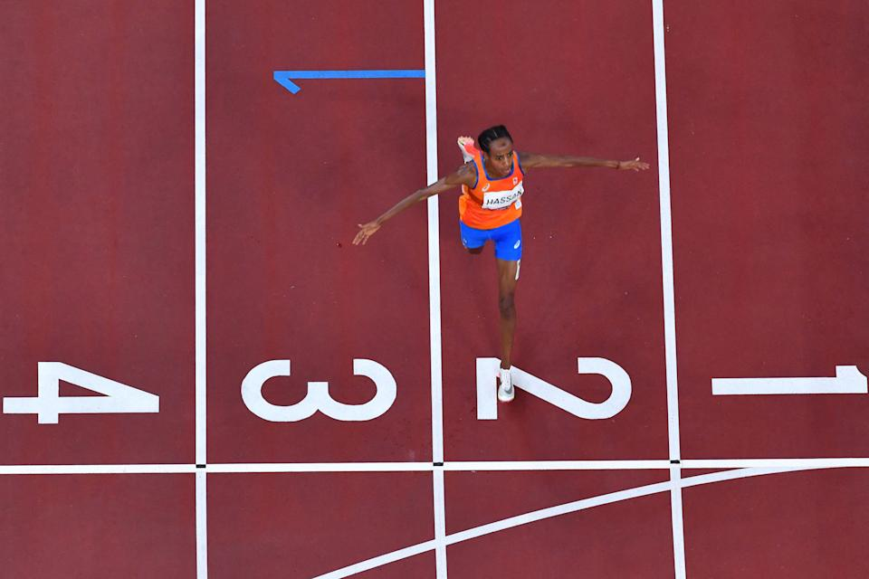 Netherlands' Sifan Hassan wins the women's 10,000m final during the Tokyo 2020 Olympic Games at the Olympic Stadium in Tokyo on August 7, 2021. (Photo by Antonin THUILLIER / AFP) (Photo by ANTONIN THUILLIER/AFP via Getty Images)