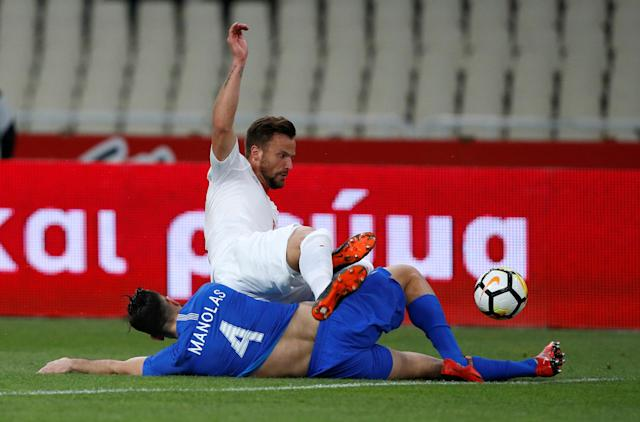 Soccer Football - International Friendly - Greece vs Switzerland - Athens Olympic Stadium, Athens, Greece - March 23, 2018 Greece's Kostas Manolas in action with Switzerland's Haris Seferovic REUTERS/Alkis Konstantinidis