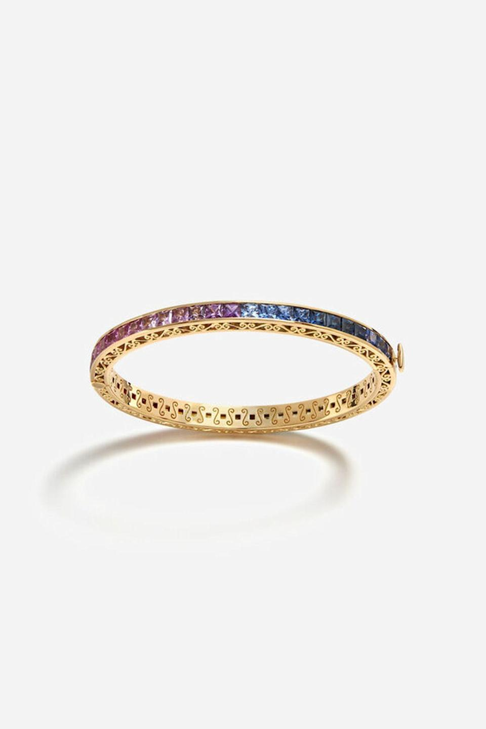 """<p><strong>Dolce & Gabbana</strong></p><p>dolcegabbana.com</p><p><strong>$19500.00</strong></p><p><a href=""""https://us.dolcegabbana.com/en/watchesandjewelry/women/jewelry/multicolor-sapphire-bracelet-gold-WBLB5GWMIX1ZOO00.html?cgid=women-jewellery#prefn1=customFilter3&prefv1=Bracelets&page=1&start=8"""" rel=""""nofollow noopener"""" target=""""_blank"""" data-ylk=""""slk:Shop Now"""" class=""""link rapid-noclick-resp"""">Shop Now</a></p><p>Rainbows are ultra-sophisticated when they are made with sparkling sapphires. </p>"""