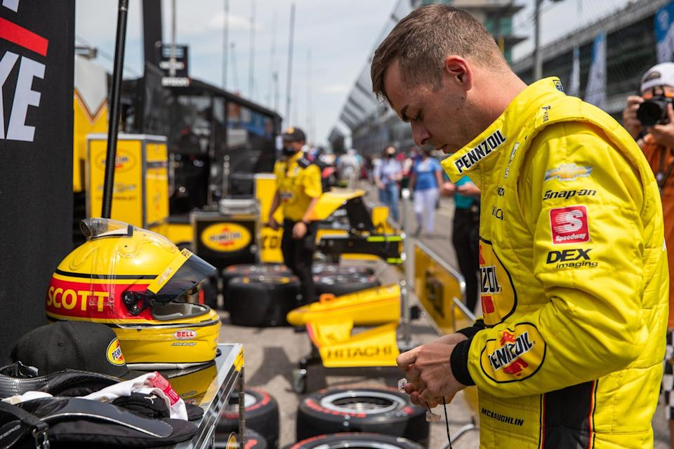 Team Penske rookie driver Scott McLaughlin (3) prepares to practice for the 2021 Indy 500.