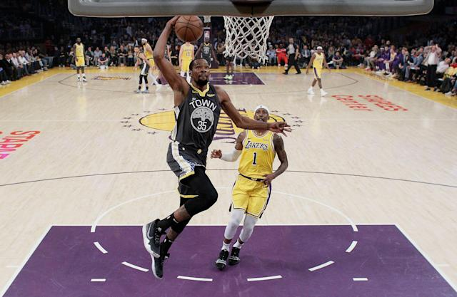Kevin Durant and the Warriors are showing flashes of shifting gears with the playoffs approaching. (AP)