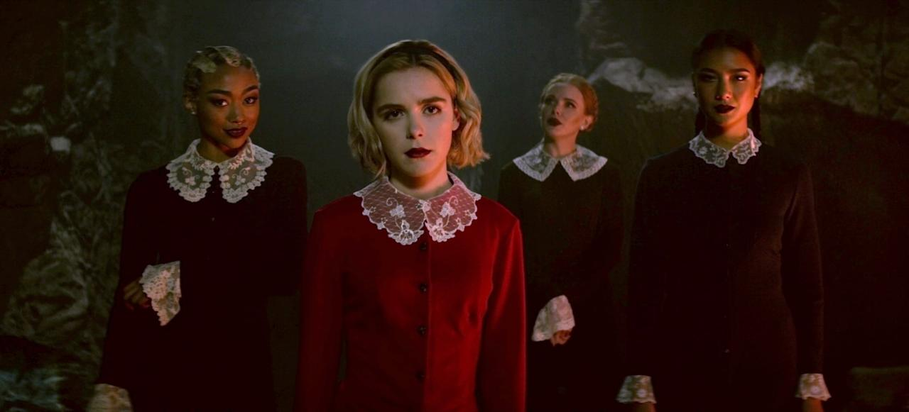 """<p>Sabrina Spellman (played by Kiernan Shipka) must live her life as half-human and half-witch, and save her family from the evil forces beyond, all while trying to fit in with her high school peers. This badass teen defies the gender bias of the witch world, proves she can use her powers for good, and shows that growing up as a teenage girl (mortal or not) is harder than it's cracked up to be.</p> <p><a href=""""https://www.netflix.com/title/80223989"""" target=""""_blank"""" class=""""ga-track"""" data-ga-category=""""Related"""" data-ga-label=""""https://www.netflix.com/title/80223989"""" data-ga-action=""""In-Line Links"""">Watch it now.</a></p>"""
