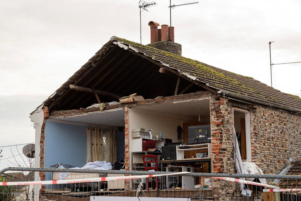 The explosion took off the whole gable end of the end-of-terraced home (Picture: SWNS)