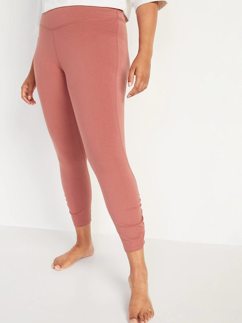 <p>I can't get enough pink, so I opted for these <span>Old Navy Extra High-Waisted PowerChill Ruched 7/8-Length Leggings in Dusty Red</span> ($30).</p>
