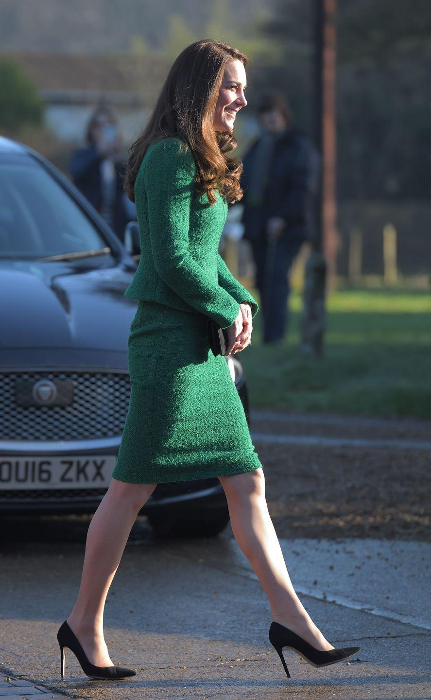 <p>It's no secret that part of royal protocol for women is to wear pantyhose, but the smooth material makes it way too easy for their feet to slide out of their heels.</p>