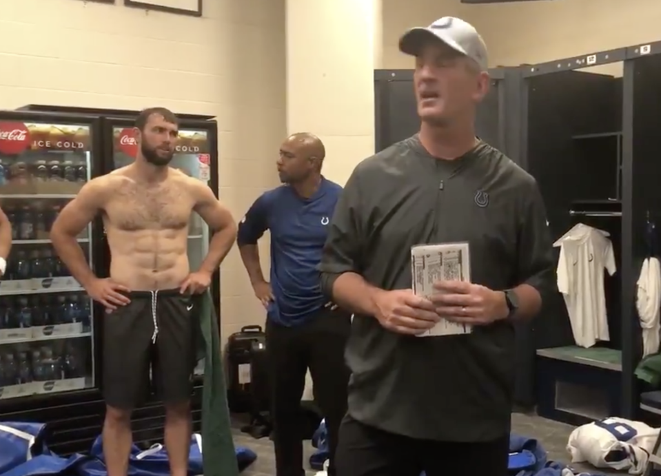 Andrew Luck got him some abs during his shoulder rehab. (Screengrab/Colts Twitter)
