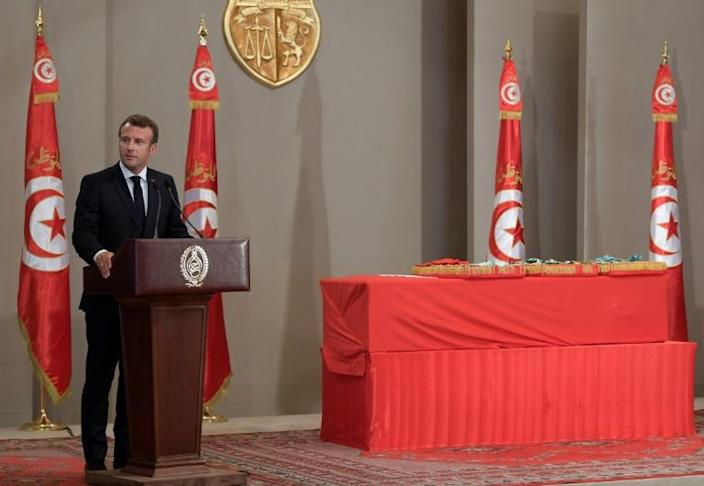 French President Emmanuel Macron was one of several foreign leaders to attend a state funeral for Tunisian president Beji Caid Essebsi in the capital Tunis (AFP Photo/Fethi Belaid)