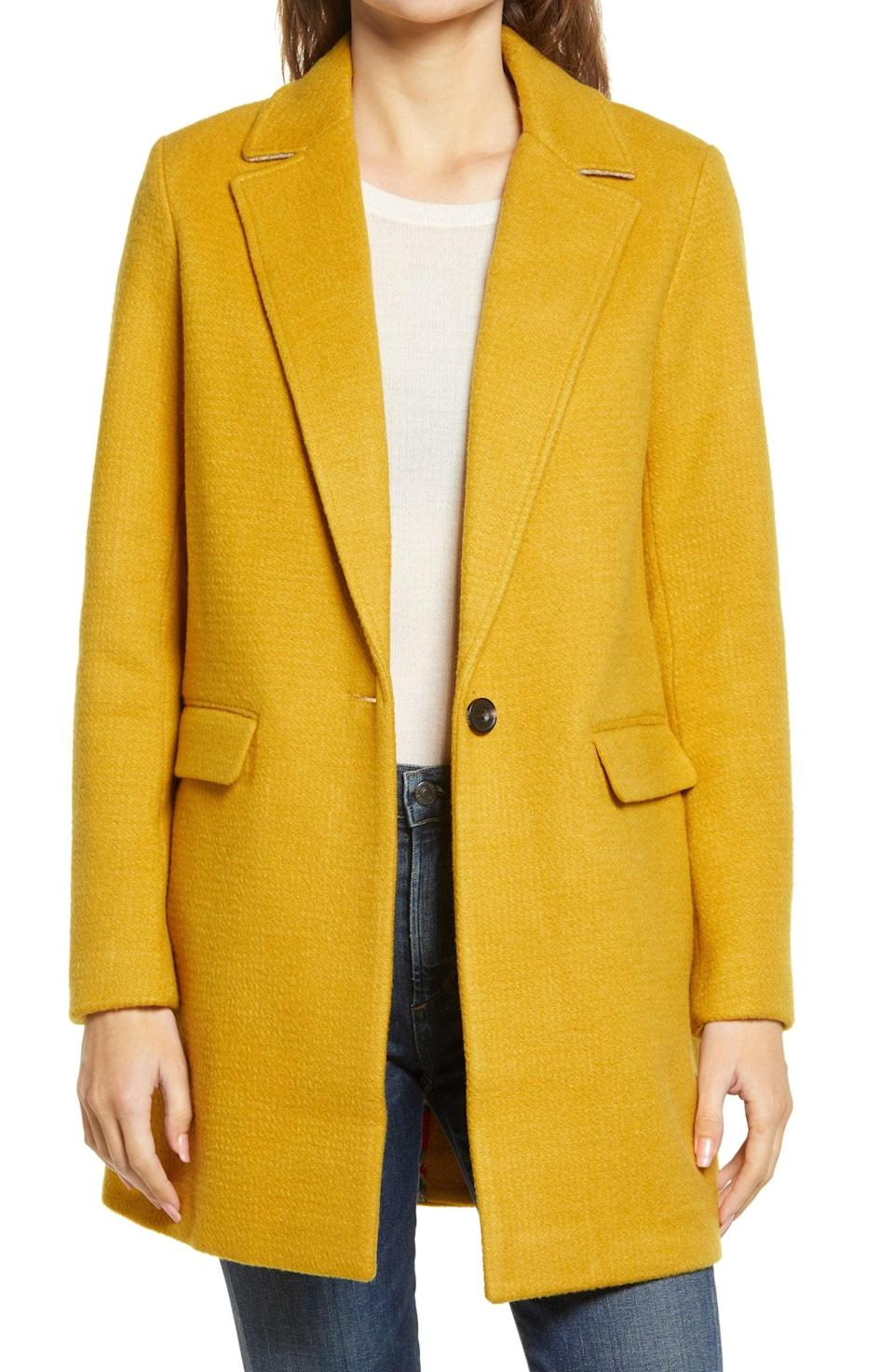 <p>We love the structured fit and silhouette of this <span>Joules Eve Longline Coat</span> ($130).</p>