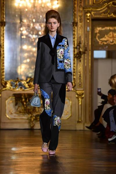 A patchwork-effect suit from Vivetta's Fall-Winter 2019-2020 collection. Milan, February 21, 2019