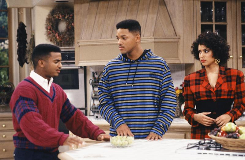 "THE FRESH PRINCE OF BEL-AIR -- ""The Butler Did It"" Episode 11 -- Pictured: (l-r) Alfonso Ribeiro as Carlton Banks, Will Smith as William 'Will' Smith, Karyn Parsons as Hilary Banks -- Photo by: Ron Tom/NBCU Photo Bank"