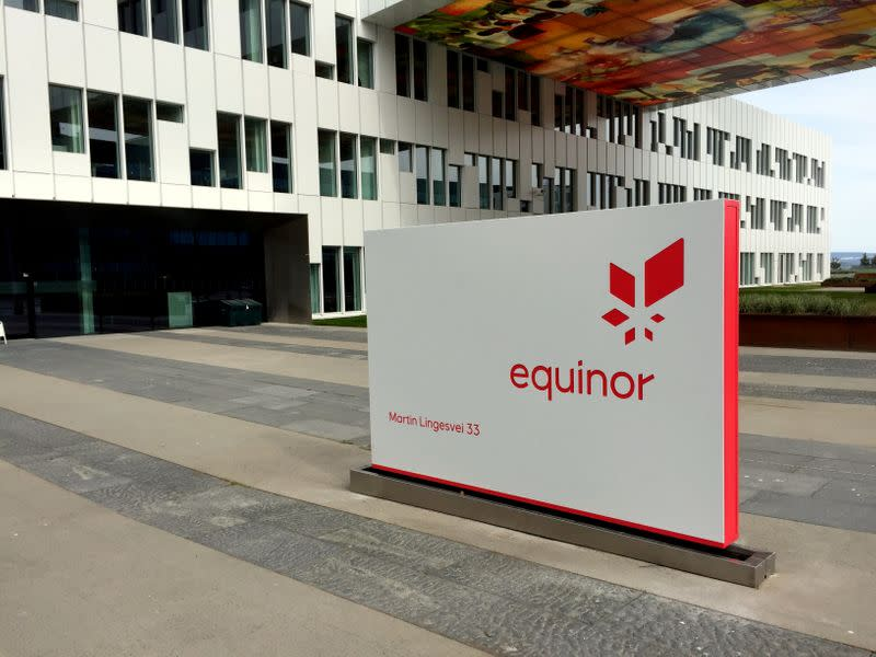 FILE PHOTO: A logo of Equinor is seen at the company's headquarters in Fornebu
