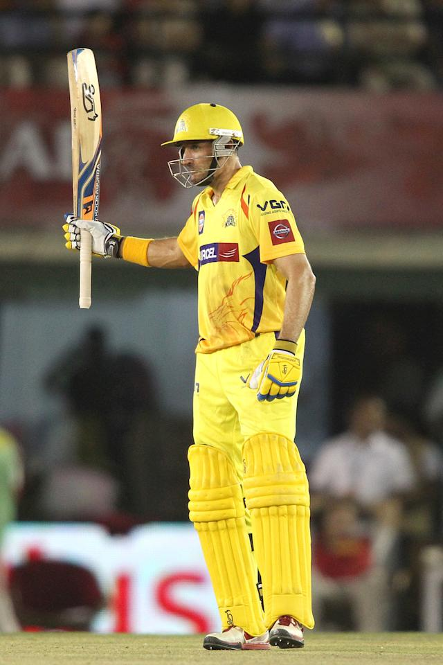 Michael Hussey of Chennai Super Kings raises his bat after reaching his fifty during match 11 of of the Pepsi Indian Premier League between The Kings XI Punjab and the Chennai Superkings held at the PCA Stadium, Mohal, India  on the 10th April 2013..Photo by Shaun Roy-IPL-SPORTZPICS  ..Use of this image is subject to the terms and conditions as outlined by the BCCI. These terms can be found by following this link:..https://ec.yimg.com/ec?url=http%3a%2f%2fwww.sportzpics.co.za%2fimage%2fI0000SoRagM2cIEc&t=1490772872&sig=L.7QMgXOrz53yBDUc_lJrg--~C