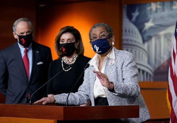 PHOTO: Del. Eleanor Holmes-Norton, joined from left by Sen. Tom Carper, and House Speaker Nancy Pelosi, speaks at a news conference ahead of the House vote on H.R. 51- the Washington, D.C. Admission Act, on Capitol Hill, April 21, 2021. (J. Scott Applewhite/AP)