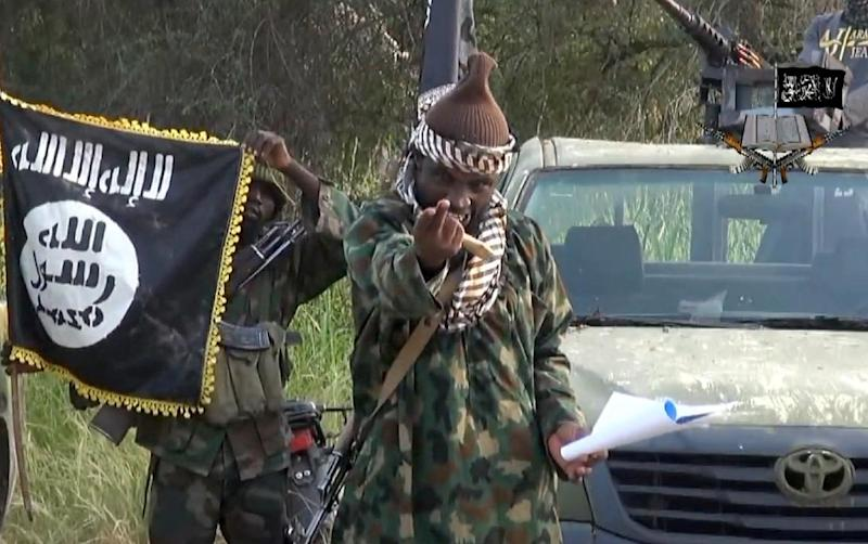 Screengrab taken on October 2, 2014, from a video released by the Nigerian Islamist extremist group Boko Haram shows the leader of the Nigerian Islamist extremist group, Abubakar Shekau