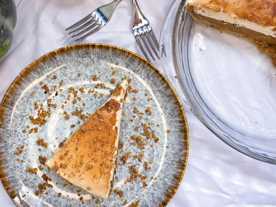 "<p>This pumpkin pie delivers in both flavor and ingredients, as it is free of animal byproducts such as dairy, eggs, and gelatin. With a sweet and salty crust, deliciously spiced pumpkin filling, and fluffy vegan marshmallow meringue topping, this pumpkin pie is a surefire hit for your next plant-based holiday meal.</p> <p>Get the recipe: <a href=""https://www.popsugar.com/food/vegan-marshmallow-pumpkin-pie-recipe-47870676"" class=""link rapid-noclick-resp"" rel=""nofollow noopener"" target=""_blank"" data-ylk=""slk:vegan marshmallow pumpkin pie"">vegan marshmallow pumpkin pie</a></p>"