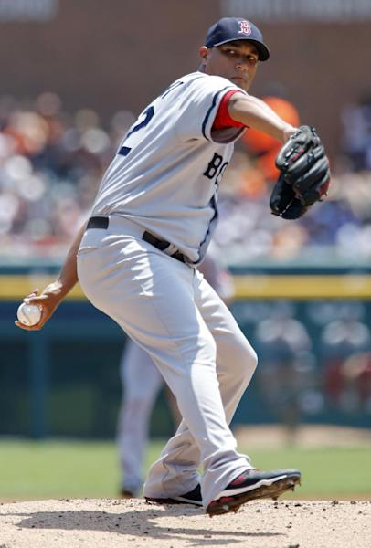 Boston Red Sox pitcher Felix Doubront pitches against the Detroit Tigers in the first inning of a baseball game on Sunday, June 23, 2013, in Detroit. (AP Photo/Duane Burleson)