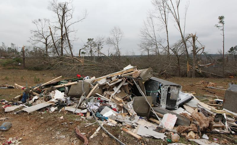 Damage is seen from a tornado which killed at least 23 people in Beauregard, Alabama on March 4, 2019. (Photo: Tami Chappell/AFP/Getty Images)