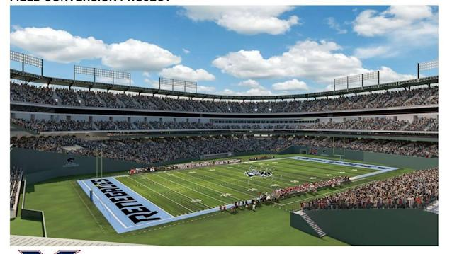 Here's what Globe Life Park will look like once it's ready for XFL football, USL soccer