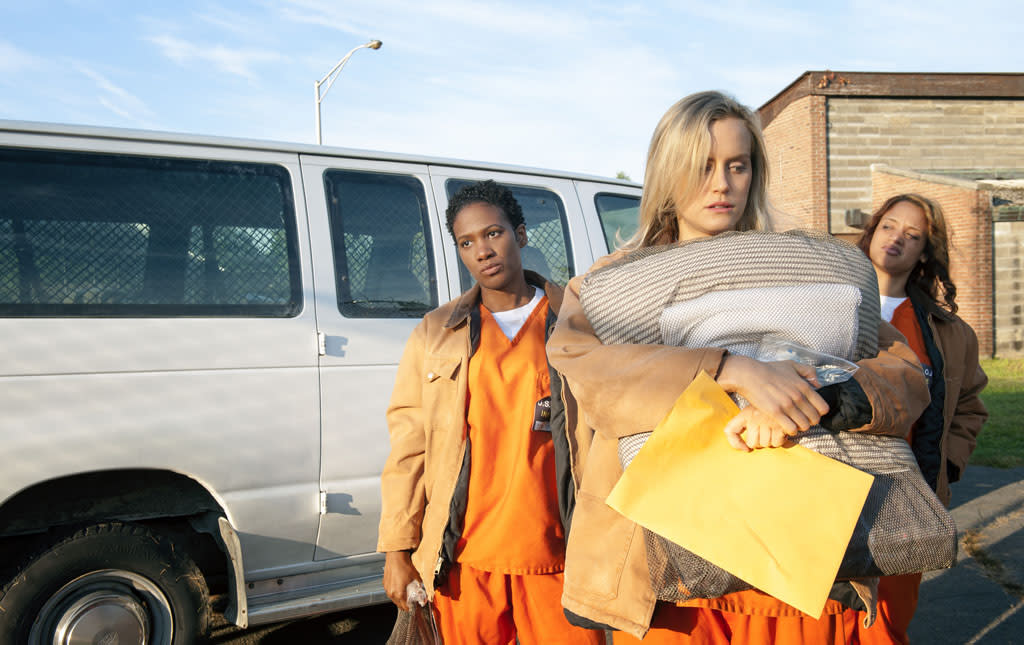 Taylor Schilling, Vicky Jeudy, and Dascha Polanco in a scene from Netflix?s ?Orange is the New Black.?