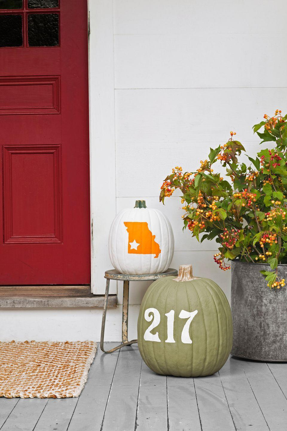 """<p>Along with your house number, you can place your hometown right on your pumpkin for all to see. First, purchase a decal of your state's shape to apply to your pumpkin. Proceed to cover it in two coats of acrylic paint (be sure to wait 30 minutes for each coat to dry). Remove the decal once your pumpkin is dry.</p><p><a class=""""link rapid-noclick-resp"""" href=""""https://go.redirectingat.com?id=74968X1596630&url=https%3A%2F%2Fwww.etsy.com%2Flisting%2F206420143%2Ffree-shipping-state-outline-with-heart&sref=https%3A%2F%2Fwww.goodhousekeeping.com%2Fholidays%2Fhalloween-ideas%2Fg2592%2Fpumpkin-painting-ideas%2F"""" rel=""""nofollow noopener"""" target=""""_blank"""" data-ylk=""""slk:SHOP STATE DECAL"""">SHOP STATE DECAL</a></p>"""