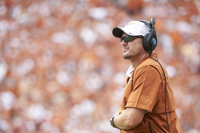 Tom Herman and the Longhorns pulled out another close one Saturday against Baylor and jumped to No. 7 in the AP poll. (AP)