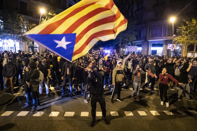 Catalan pro-independence protests in downtown Barcelona are part of the reason El Clasico has been postponed. But that decision is a fundamental misunderstanding of the game and its history. (AP)