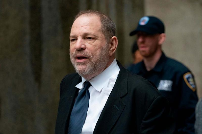 Disgraced Hollywood mogul Harvey Weinstein leaves the State Supreme Court on April 26, 2019 in New York, after a break in a pre-trial hearing over sexual assault charges. (AFP/Getty Images)