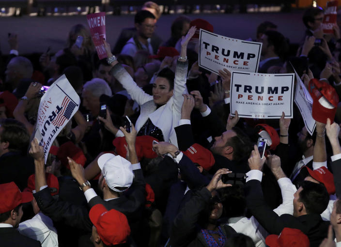 <p>Supporters celebrate as returns come in for Republican U.S. presidential nominee Donald Trump during an election night rally in Manhattan, New York, Nov. 8, 2016. (Photo: Mike Segar/Reuters) </p>