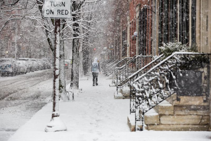 The third nor'easter in less than two weeks is expected to hit parts of the Northeastern U.S. on Monday. (Bloomberg via Getty Images)
