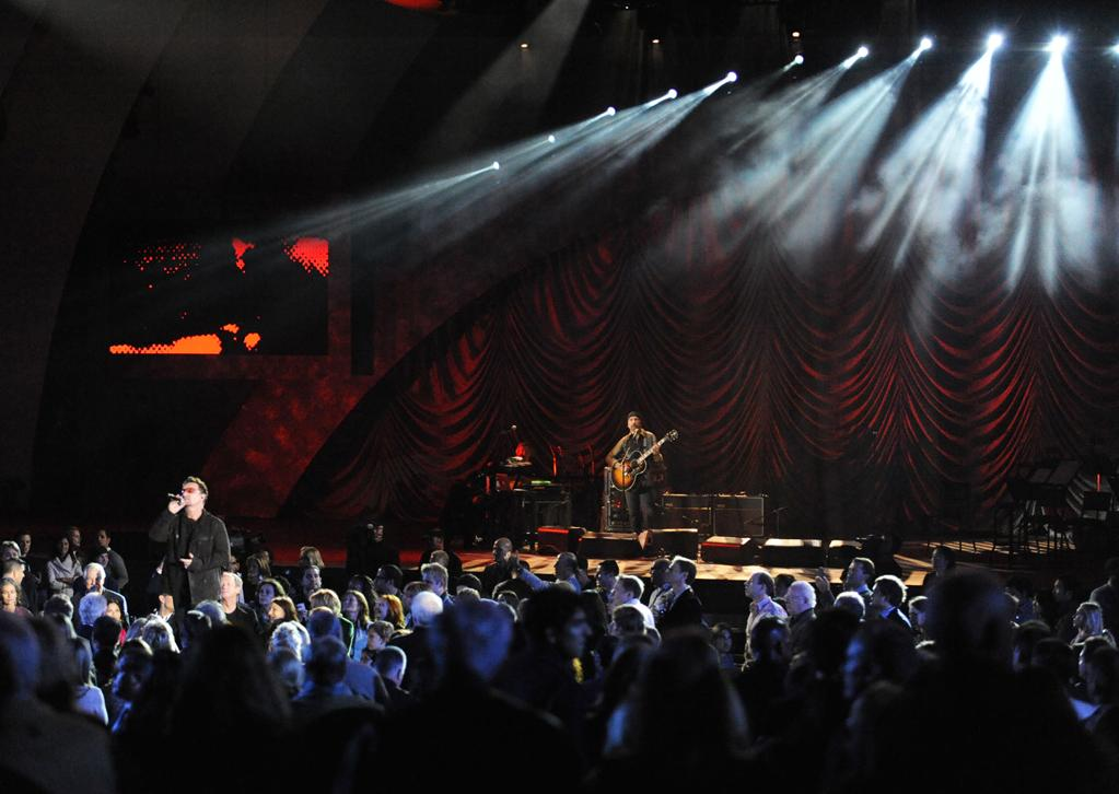 """The Edge and Bono perform at the """"A Decade of Difference"""" concert on October 15, 2011, at the Hollywood Bowl, Los Angeles. <br><br>(Photo by Stephanie Cabral/Yahoo!)"""