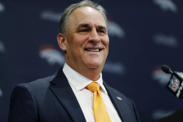 Denver Broncos new head coach Vic Fangio speaks during a news conference at the team's headquarters Thursday, Jan. 10, 2019, in Englewood, Colo. (AP Photo/David Zalubowski)