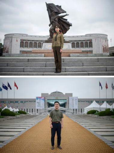 Tour guide Choe Un Jong (top) at Pyongyang's Korean War museum says North Korea was attacked first in 1950 by the South and the United States. Curator Go Hanbin (bottom) at Seoul's War Memorial of Korea is dismissive of that claim