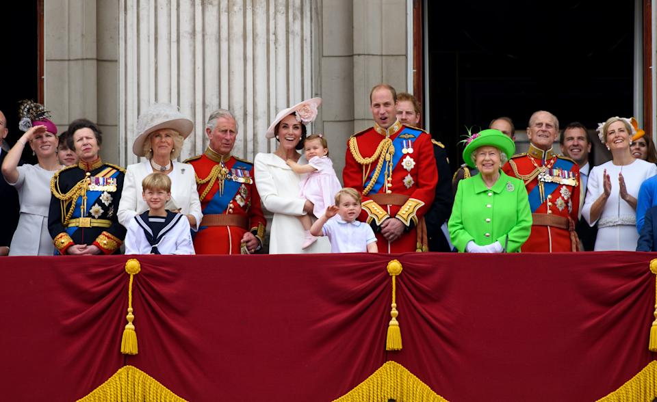 royal family Zara Tindall, Anne, Princess Royal, Camilla, Duchess of Cornwall, Charles, Prince of Wales, Catherine, Duchess of Cambridge, Princess Charlotte of Cambridge, Prince George of Cambridge, Prince William, Duke of Cambridge, Prince Harry, Queen Elizabeth II  Prince Philip, Duke of Edinburgh and Sophie, Countess of Wessex watch a fly past during the Trooping the Colour