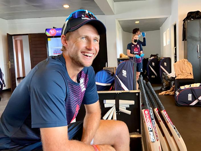 <p>Joe Root is all smiles in England's dressing room</p> (ECB)