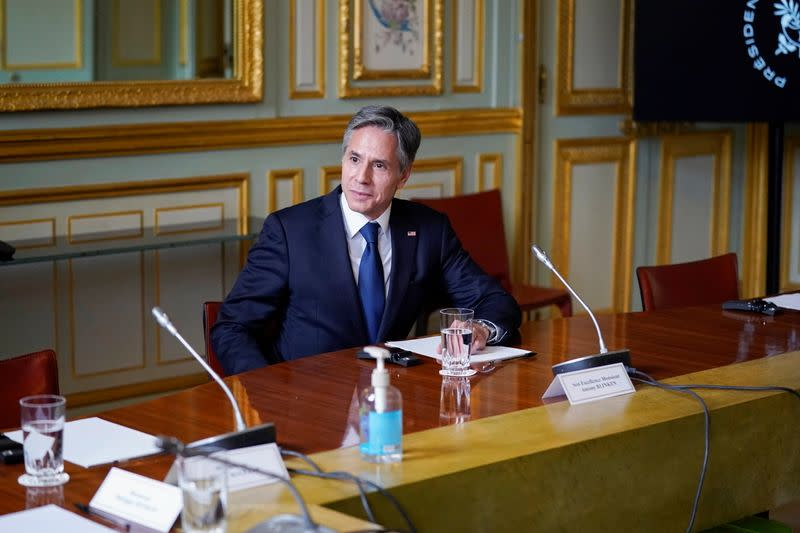French President Macron meets with U.S. Secretary of State Blinken in Paris
