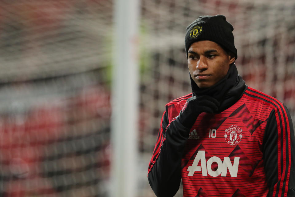 MANCHESTER, ENGLAND - JANUARY 15: Marcus Rashford of Manchester United during the FA Cup Third Round Replay match between Manchester United and Wolverhampton Wanderers at Old Trafford on January 15, 2020 in Manchester, England. (Photo by Matthew Ashton - AMA/Getty Images)