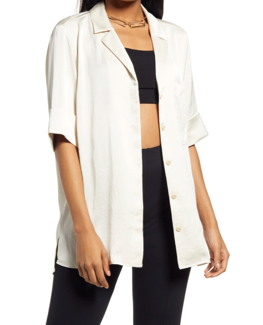 Satin Camp Shirt in Ivory Birch (Photo via Nordstrom)