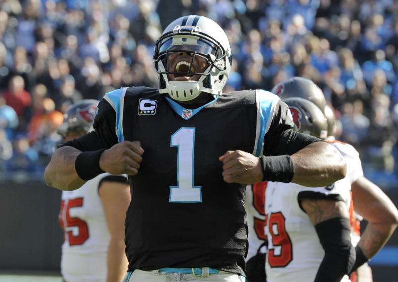 Carolina Panthers' Cam Newton (1) celebrates his touchdown pass against the Tampa Bay Buccaneers in the first half of an NFL football game in Charlotte, N.C., Sunday, Dec. 1, 2013. (AP Photo/Mike McCarn)