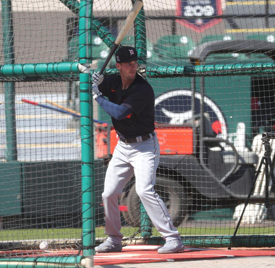 Detroit Tigers infielder Zack Short takes batting practice Friday, Feb. 26, 2021 at Publix Field at Joker Marchant Stadium in Lakeland, Florida.