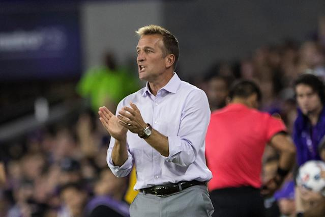 Longtime MLS coach Jason Kreis has emerged as the leading candidate to take over the LA Galaxy. (Joe Petro/Getty)