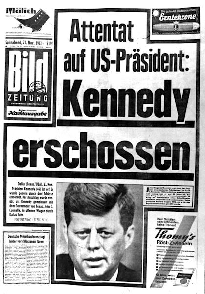 "This Saturday, Nov. 23, 1963 file photo shows the front page of the West Berlin newspaper, ""Bildzeitung."" The headline reads ""Assassination of U.S. President: Kennedy Shot."" Friday, Nov. 22, 2013 marks the 50th anniversary of his death. (AP Photo/File)"