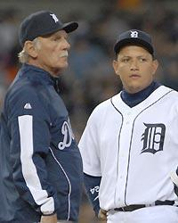 Jim Leyland (L) needs to be more supportive of Miguel Cabrera's needs instead of predicting another great season. (Mark Cunningham/Getty)