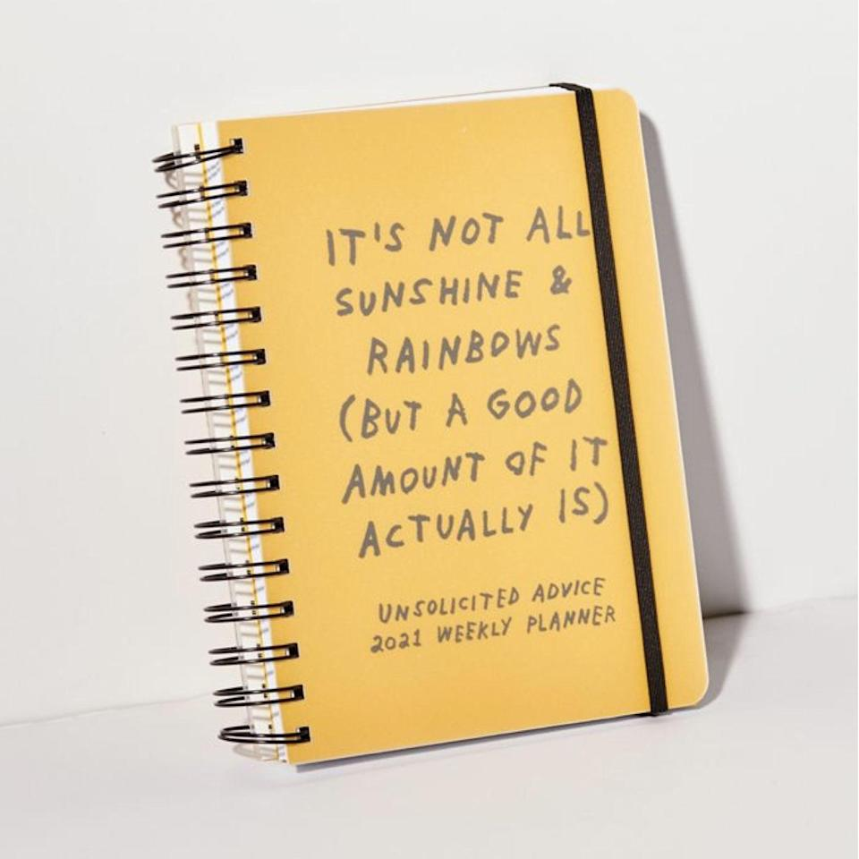 "This planner tells it like it is, featuring relatable stickers like ""today is cancelled sorry"" and ""do not want to deal with this,"" which is still a step in the right direction towards making rain checks <em>ahead</em> of time and procrastinating less. $25, Urban Outfitters. <a href=""https://www.urbanoutfitters.com/shop/adamjk-2021-unsolicited-advice-52-week-planner?"" rel=""nofollow noopener"" target=""_blank"" data-ylk=""slk:Get it now!"" class=""link rapid-noclick-resp"">Get it now!</a>"