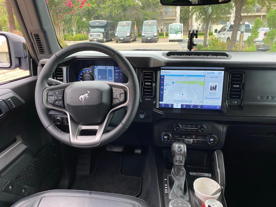 2021 Ford Bronco instrument panel with 12-inch touch screen.