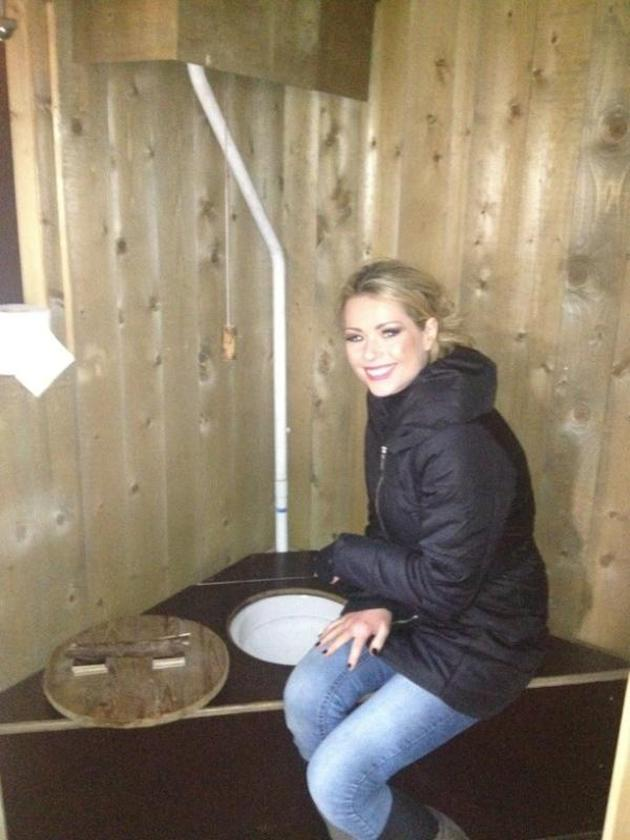 Celebrity photos: Model and former Celebrity Big Brother star Nicola McLean went camping with her family this week – and decided to tweet this image of herself next to the toilet, saying it was like the toilet in the I'm A Celebrity jungle.