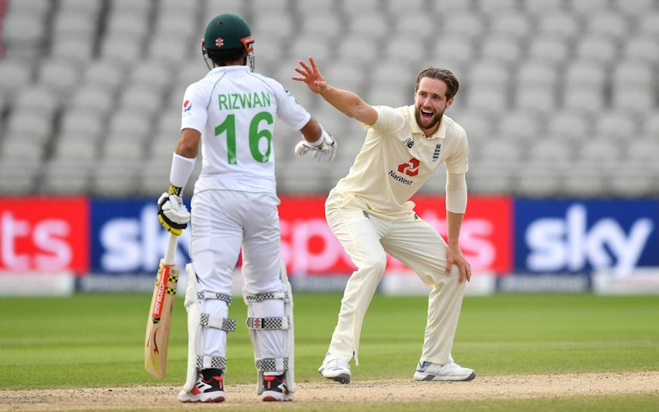 Chris Woakes of England appeals unsuccessfully for the wicket of Asad Ali - GETTY IMAGES