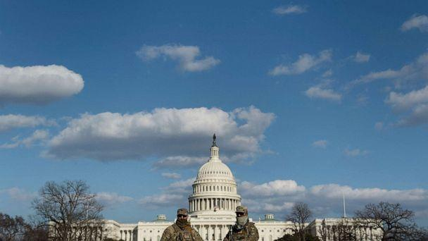 PHOTO: Members of the National Guard are seen on Capitol Hill in Washington, D.C., on March 4, 2021. (Brendan Smialowski/AFP via Getty Images)