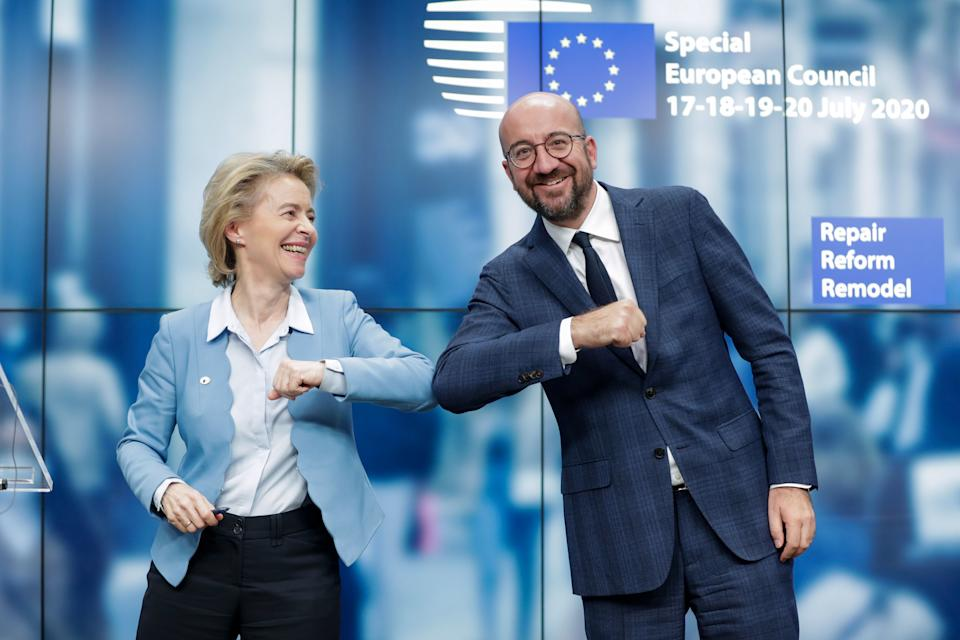 European Commission president Ursula Von Der Leyen, left, and European Council president Charles Michel bump elbows following conclusion of the summit in Brussels, Belgium. Photo: Stephanie Lecocq/AFP via Getty Images