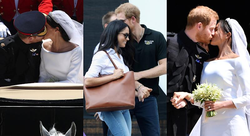 Newlyweds Prince Harry and Meghan Markle can barely keep their hands off one another. [Photo: Getty]