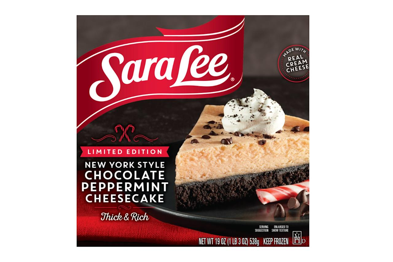 """It's peppermint season, folks. Sara Lee released a special edition <a href=""""https://saraleedesserts.com/products/lto-chocolate-peppermint-cheesecake/"""" target=""""_blank"""" rel=""""nofollow"""">New York Style Chocolate Peppermint Cheesecake</a> and it's baked into a delicious chocolate cookie crust with real peppermint, real cream cheese, and topped with semi-sweet chocolate chips. Best of all, it doesn't even require an oven!"""